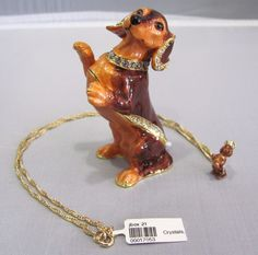 New Trinket Box Gift Crystals Brown Dachshund Dog Animal Necklace