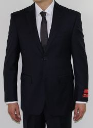 Men's Two Button WOOL Navy Suit