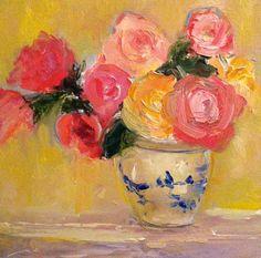 Roses, kék és fehér váza Roses eredeti Virág a Studio155