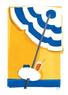 Aperol spritz on a sunbed at Il Pirata · sullivanand3rd.com · #illustration #italy