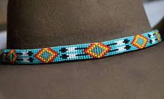 0167 Beaded Feathers Hat Band by WoodenIndianCrafts on Etsy Native Beading Patterns, Native Beadwork, Native American Beadwork, Loom Bracelet Patterns, Bead Loom Bracelets, Bead Loom Patterns, Beaded Hat Bands, Beaded Belts, Loom Hats