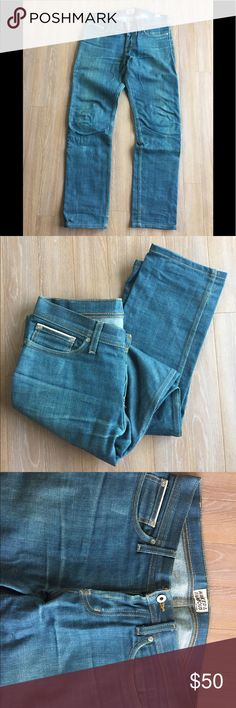 "Naked and Famous 30"" selvedge denim Style: Weird Guy  Size: 30 Wash: broken twill green cast selvedge  Measurements: waist 17"", rise 9.5"", thigh 11.5"", inseam 31"", leg opening 7.5""  These fit amazing and have a super rare vintage style wash. The leather ""Naked and Famous"" tag on the back needs stitched on one corner. Very minor. Naked & Famous Denim Jeans Straight"
