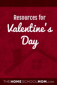 LOTS of Valentine's Day Resources brought to you by thehomeschoolmom.com  Grouped by age group, and everything is linked - a lot in one spot - and very convenient.