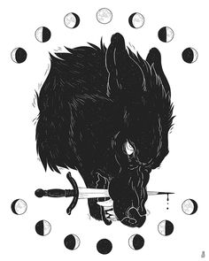 Drawings Moon Wolf - Print · Dappermouth · Online Store Powered by Storenvy - You were the bright full moon, and I became something else around you. Art print on enhanced matte paper Art Inspo, Fenrir Tattoo, Werewolf Tattoo, Animal Drawings, Art Drawings, Drawing Animals, Wolf Drawings, Wolf Illustration, Arte Obscura