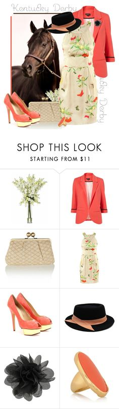 """Kentucky Derby"" by bumblebeesfavorite ❤ liked on Polyvore featuring Nearly Natural, Oasis, H&M, Charlotte Olympia, Ann-Marie Faulkner Millinery, Dorothy Perkins, Kenneth Jay Lane, platform heels, floral dresses and cocktail rings"