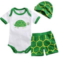 "NWT Vaenait Baby Newborn Baby's Bodysuit Pants Hat Set "" Green Turtle """