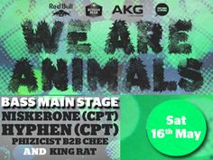 WE ARE ANIMALS in association with Red Bull Studios (CPT), Russian Bear Vodka & AKG, proudly presents NISKERONE (CPT), HYPHEN (CPT), WE ARE CHARLIE and many more. Get yourselves ready, you're in for one big ass day-night party!  2 FOR 1 JAMJAR SPECIAL (2-8pm)  SHOTS. VODKA. RED BULL  DAY TIME BRAAI VIBES, BRING YOUR OWN MEAT  PARTY HARD  ---------- T I C K E T S ------------  - EARLY BIRD R60 (Limited to 100)  - PRE-SOLD R80  - R100 AFTER/10pm  - Available via www.ticibox.com  - At the venue
