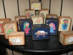 Nativity scene blocks. Great because you know the kiddos are always trying to play with the nativity scene. Link also has lots of other ideas for DIY nativity scenes.