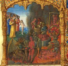 """""""L'inferno"""", miniatura tratta da 'Des douze Perilz d'enfer' (Francia, XV secolo),Bibliothèque nationale de France, Parigi. Tweet Articoli correlatiPER L'AMOR DEL CIELO, SPERIAMO CHE NON MI DIVORINO!INDIGESTIONE DA RANEDIAVOLI E COZZEANGELI E DEMONIVUOI UN MORSO?QUEL BAMBINO È UN DIAVOLETTO Commenti commenti"""