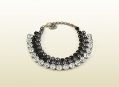 Gucci - necklace in metal with dark grey glass and crystals 325541I47628093