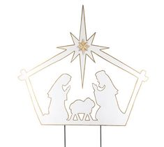 Nativity Scene Yard Stake White tin yard stake of nativity scene silhouette trimmed in gold. Made of tin with hand-painted accents. Kids Nativity Set, Christmas Nativity Set, Christmas Yard, Christmas Crafts, Outdoor Nativity, Baby Silhouette, Three Wise Men, Elegant Christmas, Outdoor Christmas Decorations