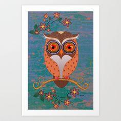 Summer Owl Art Print by MyimagesArt  - $16.00