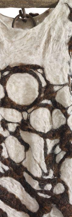 "Moira Bateman - The Hungry Girls No. 8 Momenta Animale: The Hungry Girls No. 8 114""x30""x3"" Linen textile, onion skin dye, raw wool, wood and metal yoke"