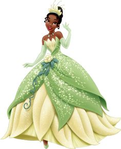 Tiana is the protagonist of The Princess and the Frog. She is the ninth official Disney Princess. Tiana is mainly pictured with her dress from the end of the movie, a green-and-light yellow one, with pale green leaves.