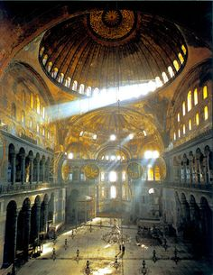 BASILICA OF HAGIA SOFIA, Interior view facing east, Istanbul, Turkey