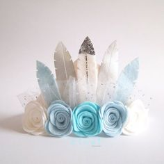 Blue Snow Ombre Rose Feather Crown - full size crown/ pink / birthday crown/ felt flower crown/ feather crown/ felt feather flower crown. Nx
