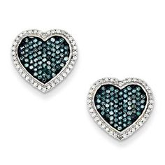 3/4 Carat Blue White Diamond Heart Earrings In Sterling Silver Available Exclusively at Gemologica.com