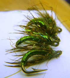 Green trout-like shad flies