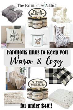 Stay warm & cozy this Fall & Winter | Fabulous Finds | Farmhouse Decor | Warm Blankets | Scented Candles | Cozy Pillows | Fall | Winter