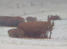 Russell Chatham Early Snow at Mission Creek 1993 Oil on Linen 12 x 16