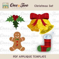 Fabric  APPLIQUE TEMPLATE Only PDF - Christmas Set