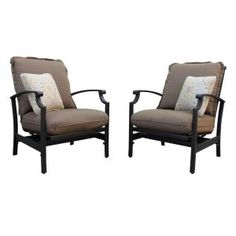 Thomasville Messina Concealed Motion Patio Club Chair With Cocoa Cushions  At Home Depot