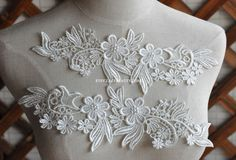 Venice Lace Appliques Ivory Floral Embroidered Patches For Wedding Supplies Bridal Hair Flower Headpiece 1 Pair  You can use this to decor your
