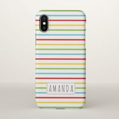 Colorful stripes pattern with name iPhone x case - patterns pattern special unique design gift idea diy