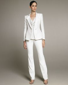 Giorgio Armani  Single-Breasted Matelasse Jacket, Draped Blouse & Slim Pants