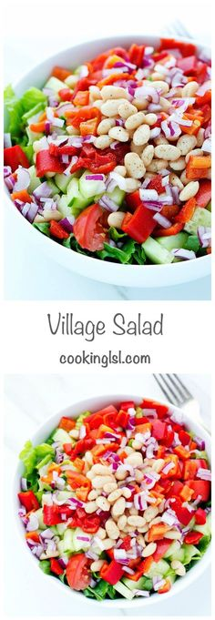 Bulgarian Village Salad. Super easy to make! Swap maple syrup or agave nectar for honey to makevegan.