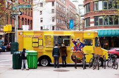 Frites 'N 'Meats: Mondays for Lunch (11 a.m. to 2pm) at 50th Street and 6th Avenue, Tuesdays for Lunch (11 a.m. to 2 p.m.) at Church and Walker streets, Wednesdays for Lunch (11 a.m. to 2 p.m.) at Hudson and King streets, Thursday for Lunch (11 a.m. to 3 p.m.) at World Financial Center Food Truck Lot, Fridays fpr Lunch (11 a.m. to 2 p.m.) at 10 Hanover Square and for Dinner Mondays through Fridays, (4 p.m. to 8 p.m.) at Greenwich and Chambers streets.