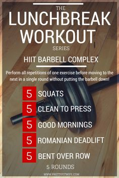 Short on time but need a good quality workout? Check out 'The Lunchbreak Workout' Series that includes high intensity workouts when time runs short? This week's workout is a HIIT Barbell Complex that is sure to get your blood pumping and will burn that fat! || http://www.prettyfitwife.com