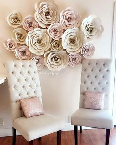 "Paper flower backdrop Set of 16 Paper Flowers in beautiful pastel blush tones Rose styles in various sizes - 6 to 18"" - Shades of blush pink & champagne This set is my most popular!!  So soft and romantic Special requests are welcome *color may look different do to lighting* Xo, Angie Flores De"
