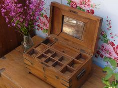 Old wooden jewellery box. Scaramanga vintage and retro furniture and interiors.