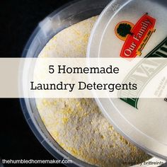 A post that gives 5 unique homemade laundry detergent recipes--from liquids to powders to those that require no grating!