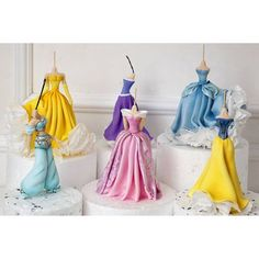 Princess Jasmine, Belle, Aurora, Rapunzel, Cinderella & Snow White Fondant Cake Toppers