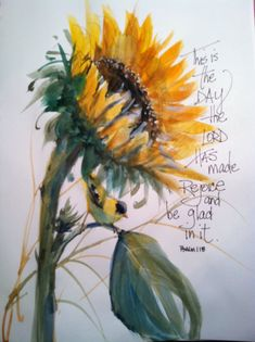 Watercolor of sunflower with goldfinch on Etsy, $15.00