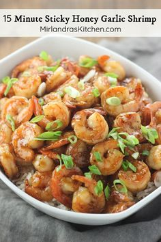 Sticky honey garlic shrimp is a fast and healthy dinner full of flavor with just the right amount of stickiness This Asian take on shrimp is always a hit Serve it over ri. Shrimp Dishes, Shrimp Recipes, Fish Recipes, Asian Recipes, New Recipes, Dinner Recipes, Cooking Recipes, Healthy Recipes, Favorite Recipes