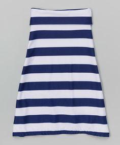 Look what I found on #zulily! Blue & White Stripe Maxi Skirt - Infant, Toddler & Girls by LittleVMen #zulilyfinds