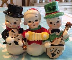 RARE VINTAGE ADORABLE CERAMIC SHAFFORD JAPAN CHRISTMAS SNOWMAN TRIO