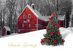 The stately red barn features an American flag tacked to the side and a decorated christmas tree with gold foil touches in the foreground. Description from holidaycardwebsite.com. I searched for this on bing.com/images