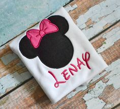 Black and Pink Minnie Mouse Personalized shirt by SpoiledSweetkids, $18.00