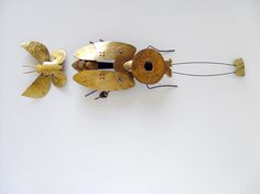 Jura Golub - Brooches - Stainless Steel, Gold, Glass Beads (Keum Boo, PUK welding)  #titanium #gold #keumboo #juragolub #puk #welding #stainlesssteel, #handmade #unique