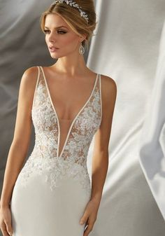 Mori Lee Bridal 6870 Wedding Dress - Part of the Mori Lee Voyage collection Bridal Wedding Dresses, Dream Wedding Dresses, Wedding Dresses Tight Fitted, Sleek Wedding Dress, Mori Lee Wedding Dress, Wedding Ceremony, Sexy Reception Dress, Wedding Dress Sheath, Crepe Wedding Dress