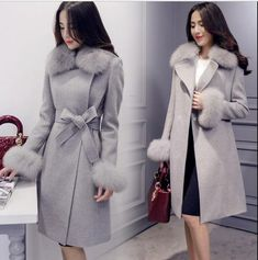 cdc9de06b5e Women s Faux Fur Collar Wool Blend Long Coat Jacket Winter Belt Slim  Outwear Top  fashion