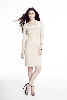 39a6f9b8abbc Paula Hian | #SS15 | Nadine Square Neck Dress in Sand/Platinum. Designer