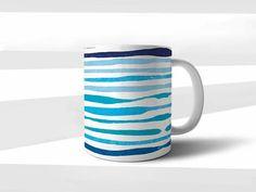 Lignes bleues Mug cadeau Mug cadeau Saint-Valentin cadeau Mug