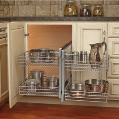 This Blind Corner Optimizer by Rev-A-Shelf maximizes space in blind corner cabinets. The two large and two small baskets are vertically adjustable and the unit is easy to assemble.