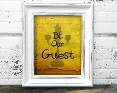 Be Our Guest Beauty and the Beast Printable Wall Art - Download file decor wedding house home kitchen disney yellow candle