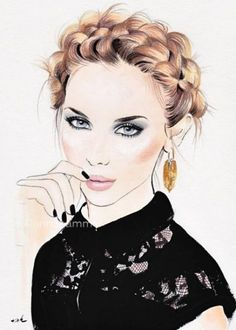 Fashion Ilustration Sketches Face Art Ideas For 2019 Fashion Face, Girl Fashion, Fashion Illustration Hair, Fashion Illustrations, Watercolor Face, How To Draw Hair, Face Art, Editorial Fashion, Cool Style